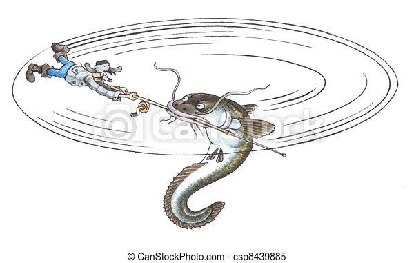 catfish hand drawing watercolor
