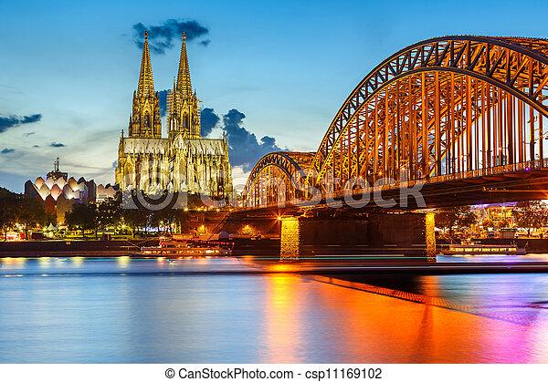 cathédrale cologne, hohenzollern, allemagne, pont - csp11169102