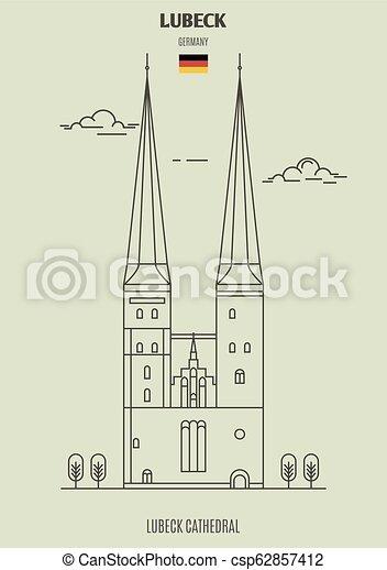 cathédrale, germany., lubeck, repère, lubeck, icône - csp62857412
