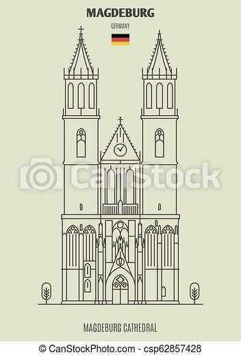 cathédrale, germany., magdeburg, repère, icône, magdeburg - csp62857428