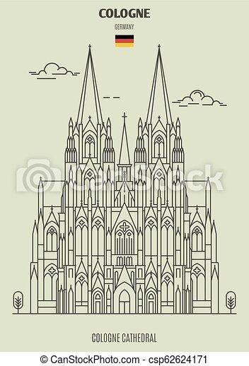 cathédrale, germany., repère, cologne, cologne, icône - csp62624171