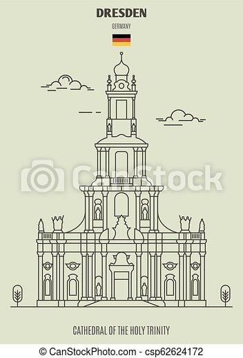 cathédrale, germany., saint, dresde, repère, icône, trinité - csp62624172