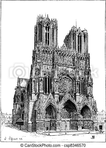Cathedral of Reims, France, vintage engraving. - csp8346570
