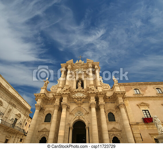 CATHEDRAL OF SYRACUSE (Siracusa, Sarausa)-- historic city in Sicily, Italy - csp11723729