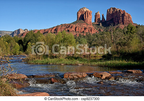Cathedral Rock as seen from Oak Creek Crossing in Sedona. - csp9237300