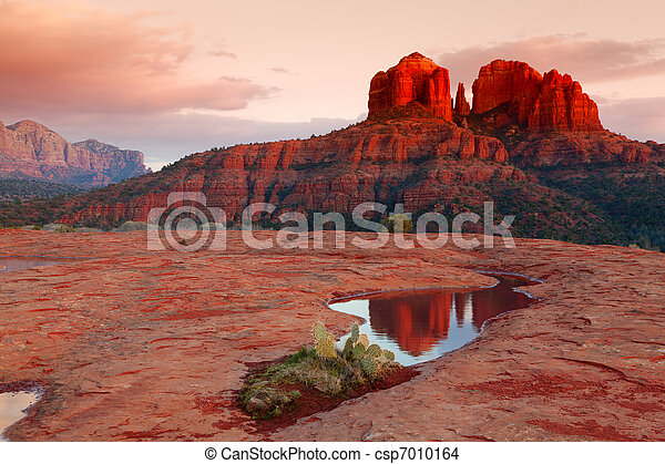 Cathedral Rock Reflection - csp7010164