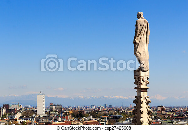 Cathedral statue and view of Milan - csp27425608