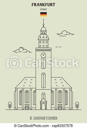 catherine's, église, germany., francfort, repère, icône, rue. - csp63307578