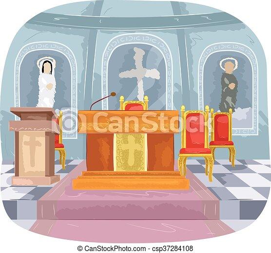 catholic church altar interior illustration featuring the vector rh canstockphoto com church altar clipart altar clipart