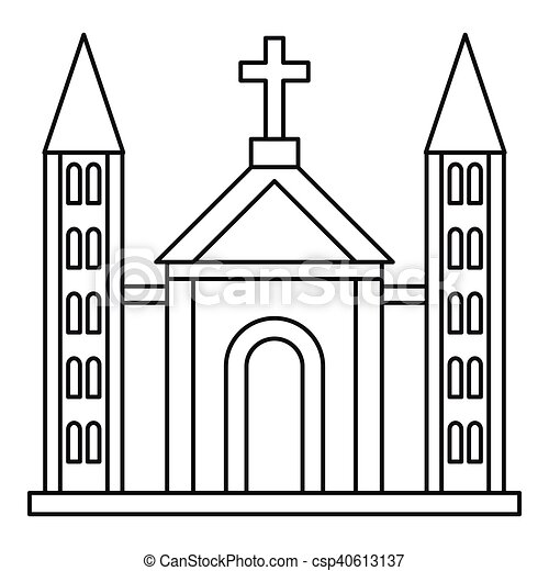 Catholic church building icon outline style csp40613137