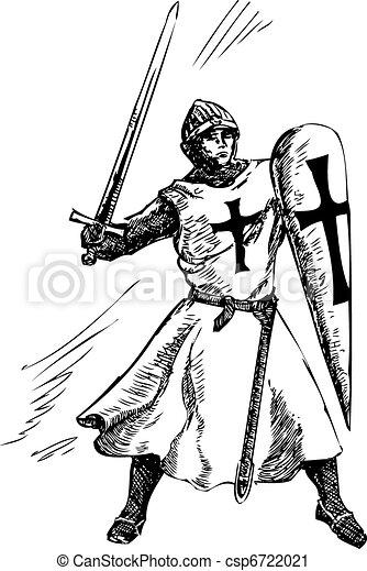 Catholic knight graphic vector  - csp6722021