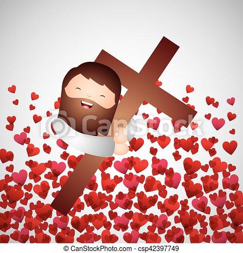 Cartoon Jesus Man Hugging A Wooden Cross Over Red Hearts Background Catholic Love Design Vector Illustration