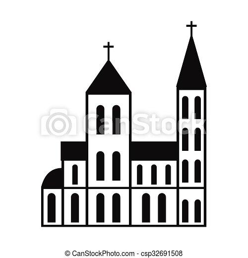 Catholique Icone Eglise Simple Fond Eglise Isole Catholique Icone Simple Blanc Canstock