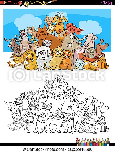 cats and dogs characters color book - csp52940596