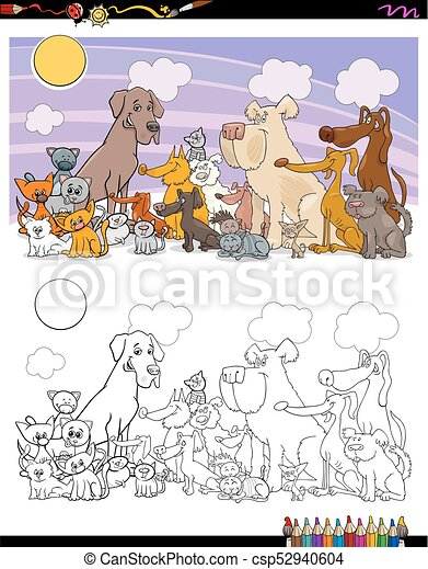 cats and dogs characters coloring book - csp52940604