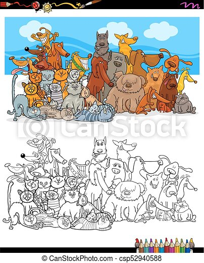 cats and dogs characters group color book - csp52940588