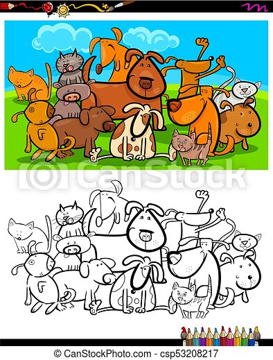 Cats and dogs characters group coloring book. Cartoon... vector clip ...