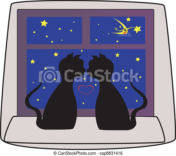cats black falling in love  - csp8831416