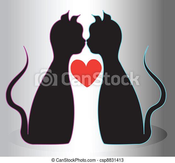 cats black falling in love  - csp8831413
