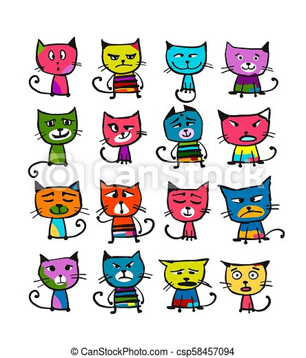 Cats collection, sketch for your design - csp58457094
