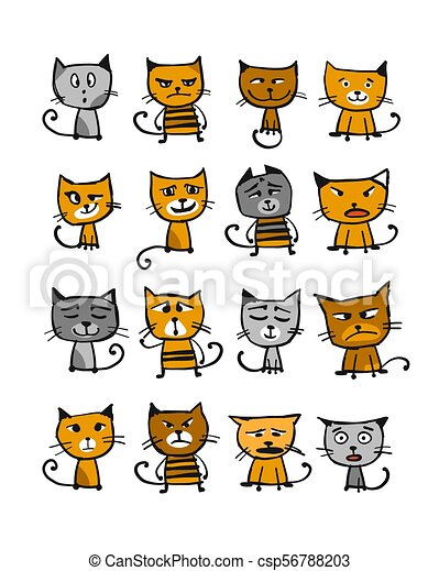 Cats collection, sketch for your design - csp56788203