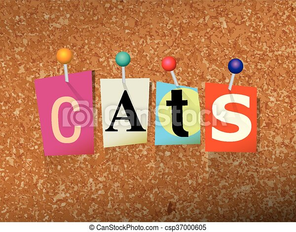 Cats Concept Pinned Letters Illustration - csp37000605