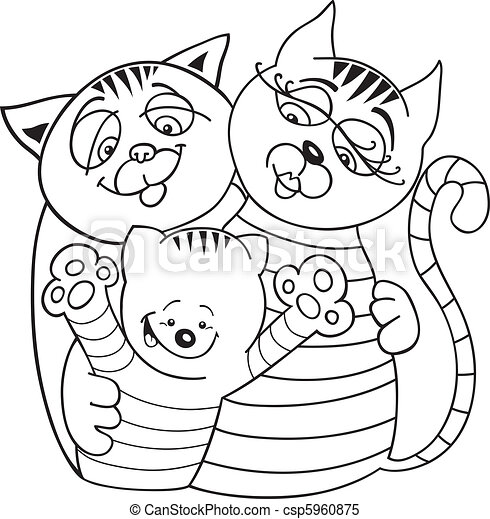 Llustration of cheerful cats family for coloring book clipart vector ...