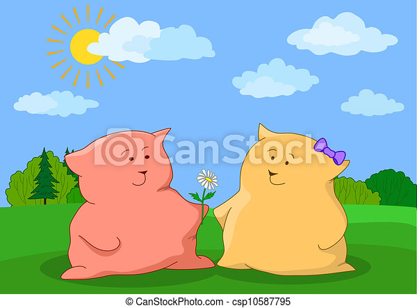 Cats friends with flower on a meadow - csp10587795