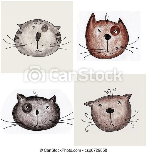Cats - Handmade illustration - csp6729858