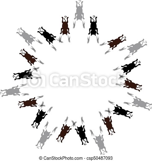 Cats in ring on white background. Vector illustration. - csp50487093