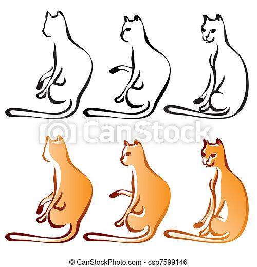 Cats Line Art Color, Set - csp7599146
