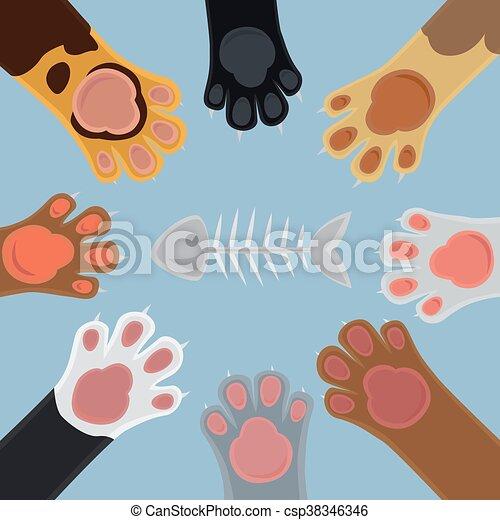 Cats paw set cartoon - csp38346346