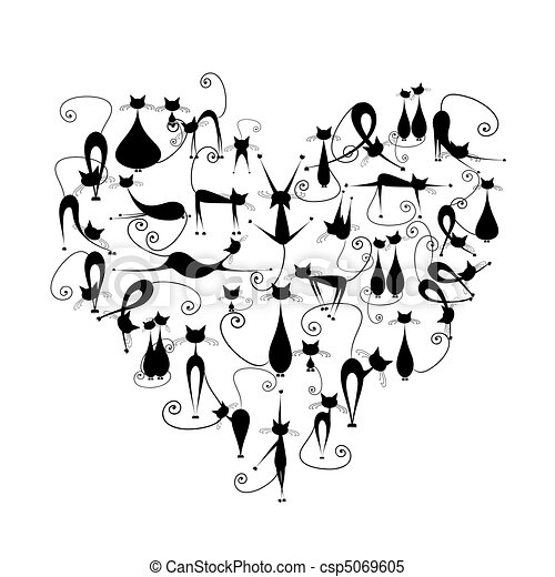 cats!, silhouette, aimez coeur, forme, chats, conception, noir, ton - csp5069605