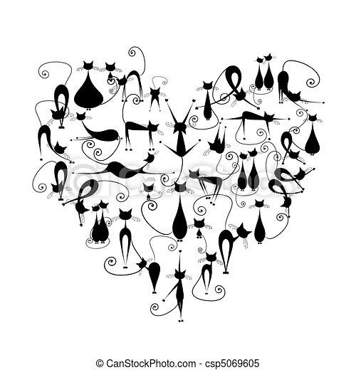 cats!, silueta, adore corazón, forma, gatos, diseño, negro, su - csp5069605