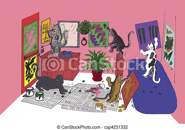Cats Who Paint - csp4231332