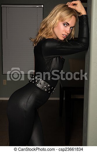 Out the Blonde latex catsuit