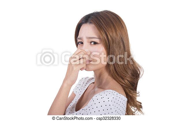 cattivo, odore, faccia - csp32328330