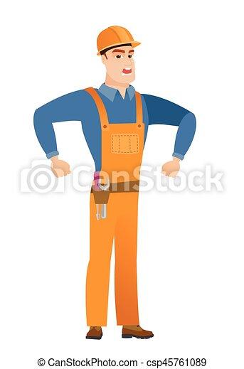Un joven constructor enojado caucásico gritando. - csp45761089
