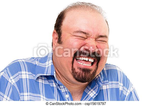 Caucasian bearded happy man laughing loud - csp15619797