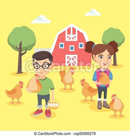 Caucasian boy and girl holding chickens and eggs. - csp50585279