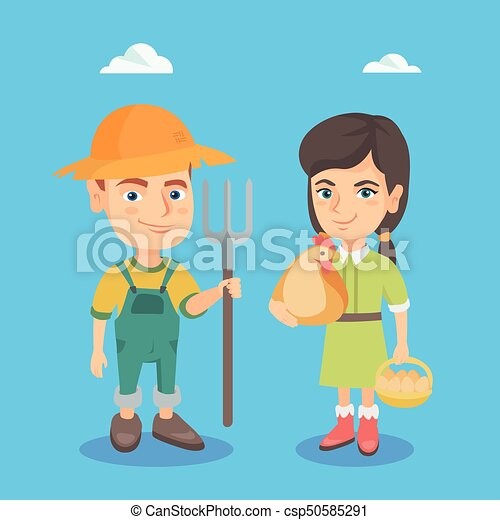 Caucasian boy and girl with chicken and rake. - csp50585291