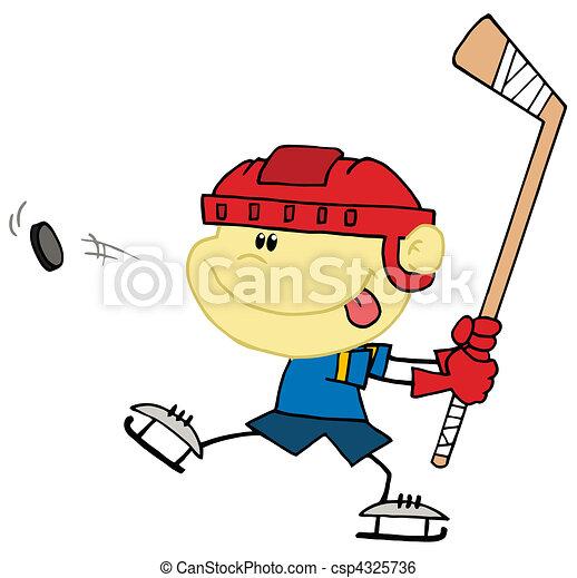Caucasian Boy Playing Hockey - csp4325736