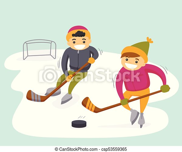 Caucasian Boys Playing Hockey On Outdoor Rink Two Teenage Caucasian White Boys Playing Ice Hockey On An Outdoor Ice Skating