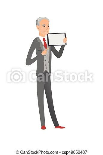 Caucasian businessman holding tablet computer. - csp49052487