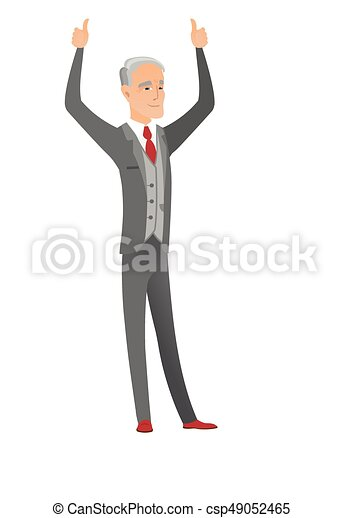 Caucasian businessman standing with raised arms up - csp49052465