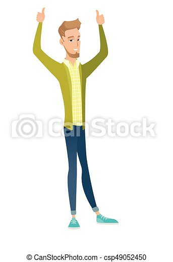 Caucasian businessman standing with raised arms up - csp49052450