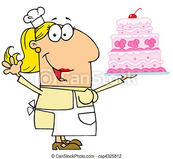 Happy Caucasian Cartoon Cake Baker Woman