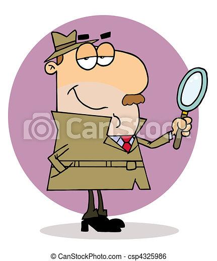 Caucasian Cartoon Investigator Man  - csp4325986