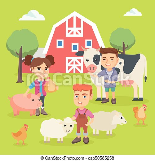 Caucasian children playing with farm animals. - csp50585258