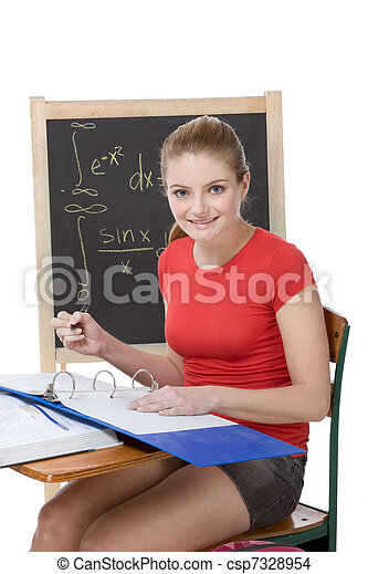 Caucasian college student woman studying math exam - csp7328954